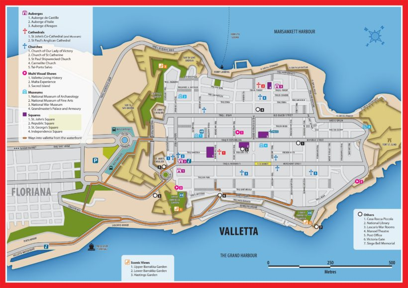 valletta map 820x580 - MALTA: UMA PEQUENA MUITO NOTÁVEL